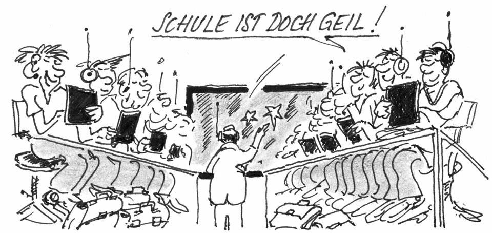 Cartoon: Schule ist doch Geil! Schüler mit Modernster Strahlungstechnik