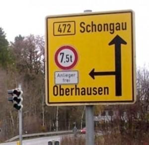Verkehrsschild Schongau Oberhausen