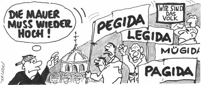 Das »VOLK« lässt grüßen: Einheit ade – Spaltung juchhe! (Cartoon: Hubert Pfeffer)
